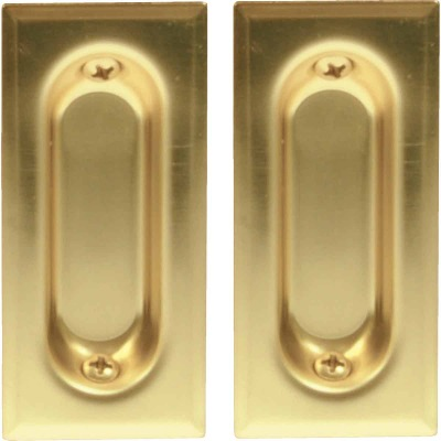 Johnson Hardware 3 In. Rectangular Brass Flush Pocket Door Pull (2-Count)